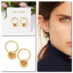 ‪Tory Burch Logo Bead Drop Earrings‬